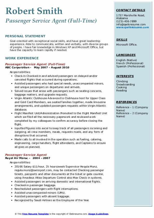 Passenger Service Agent (Full-Time) Resume Model