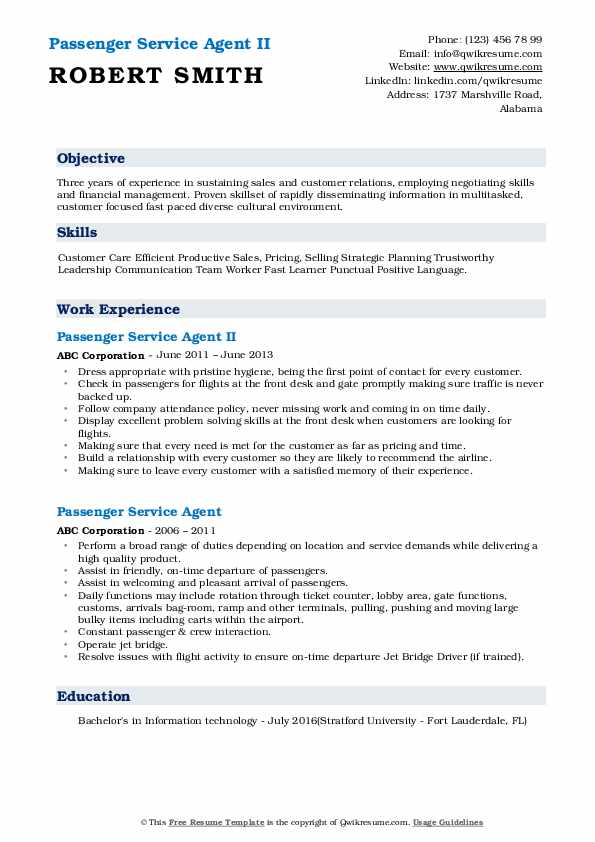 Passenger Service Agent II Resume Sample