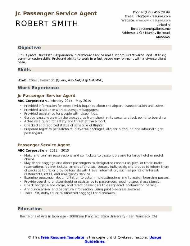 Jr. Passenger Service Agent Resume Model