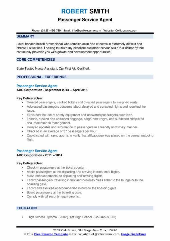 Passenger Service Agent Resume example