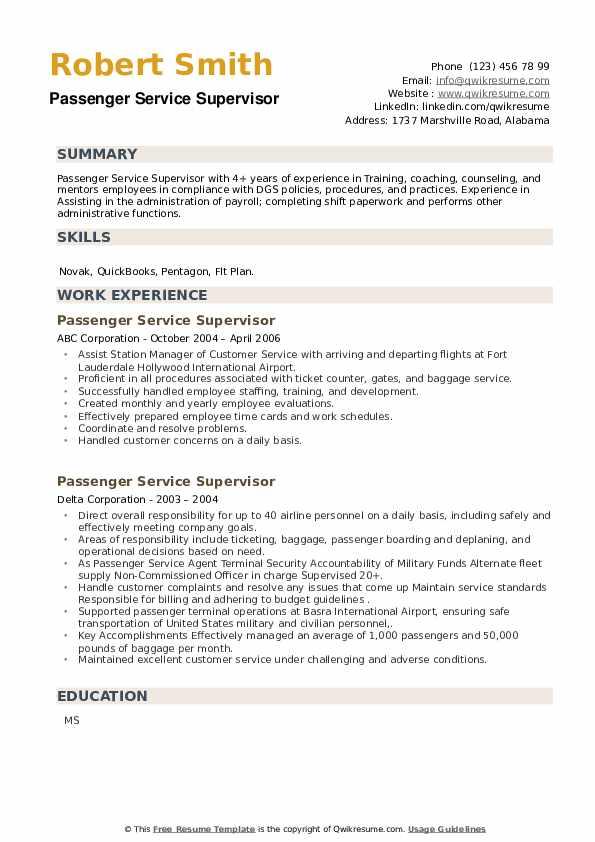 Passenger Service Supervisor Resume example