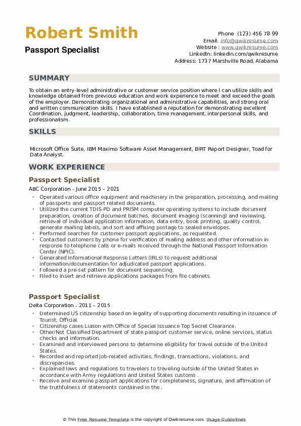 Passport Specialist Resume example