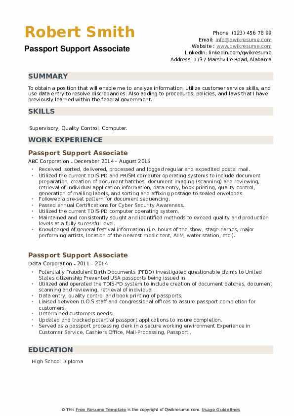 Passport Support Associate Resume example