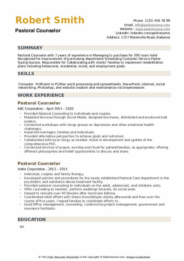 Pastoral Counselor Resume example