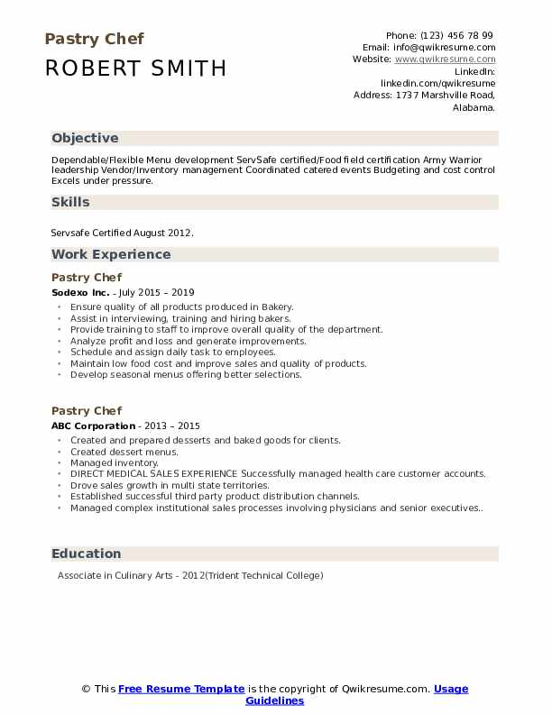 Pastry Chef Resume Sample