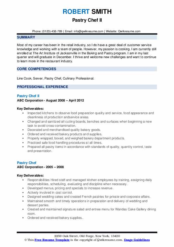 pastry chef professional resume