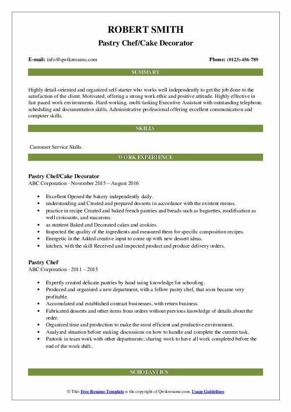 Pastry Chef/Cake Decorator Resume Example