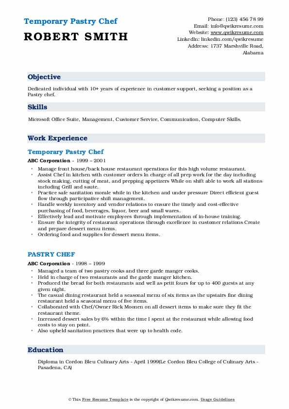 Temporary Pastry Chef Resume Example