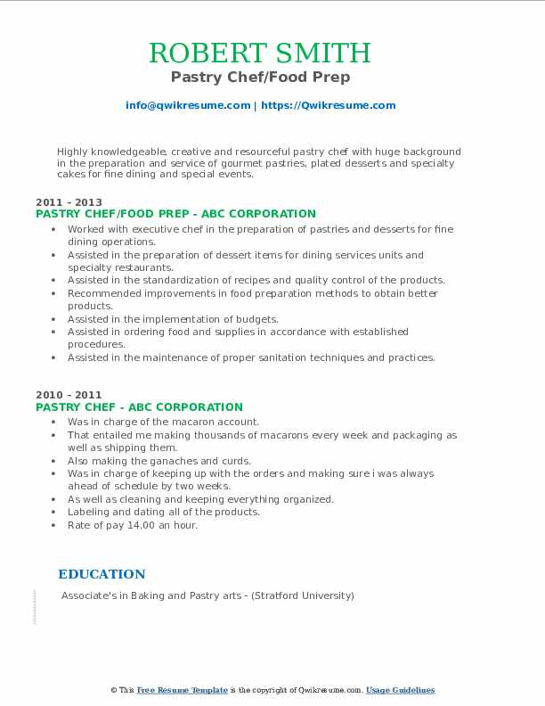 Pastry Chef/Food Prep Resume Format