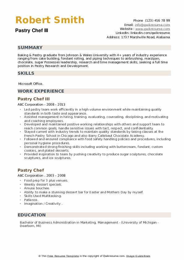 Pastry Chef III Resume Example