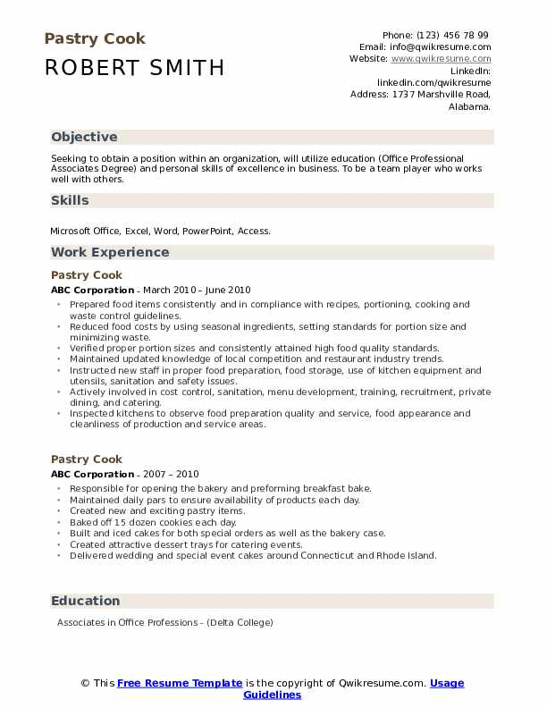 Pastry Cook Resume Samples Qwikresume