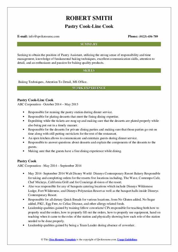 Pastry Cook-Line Cook Resume Format