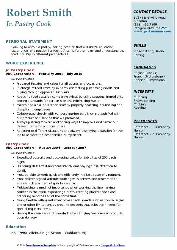 Jr. Pastry Cook Resume Format