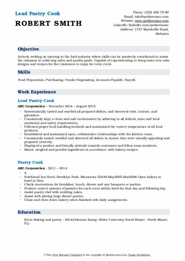 Lead Pastry Cook Resume Example