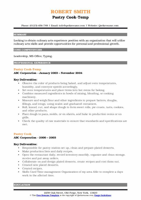 Pastry Cook-Temp Resume Template
