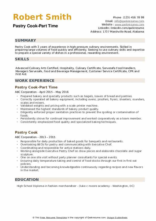 Pastry Cook-Part Time Resume Format