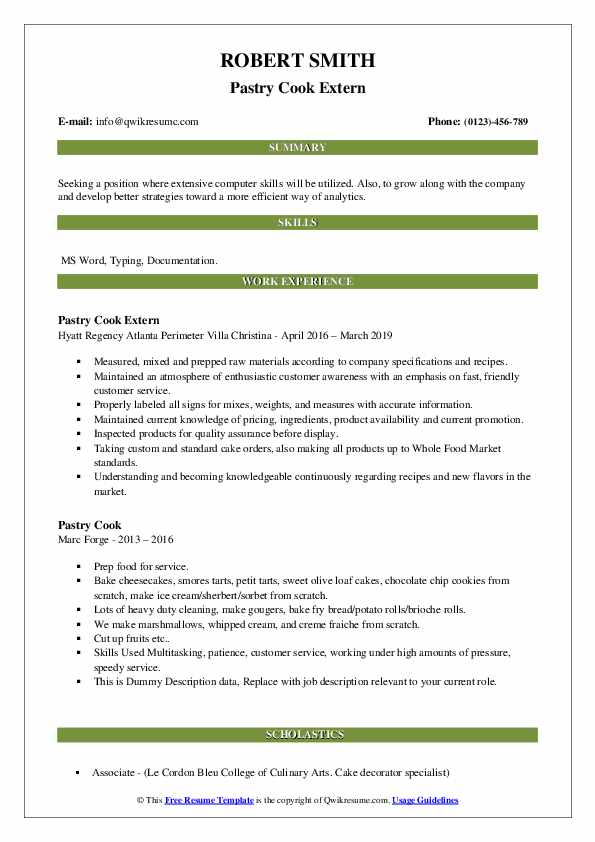 Pastry Cook Extern Resume Template