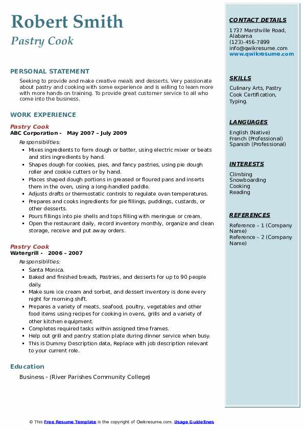 Pastry Cook Resume example