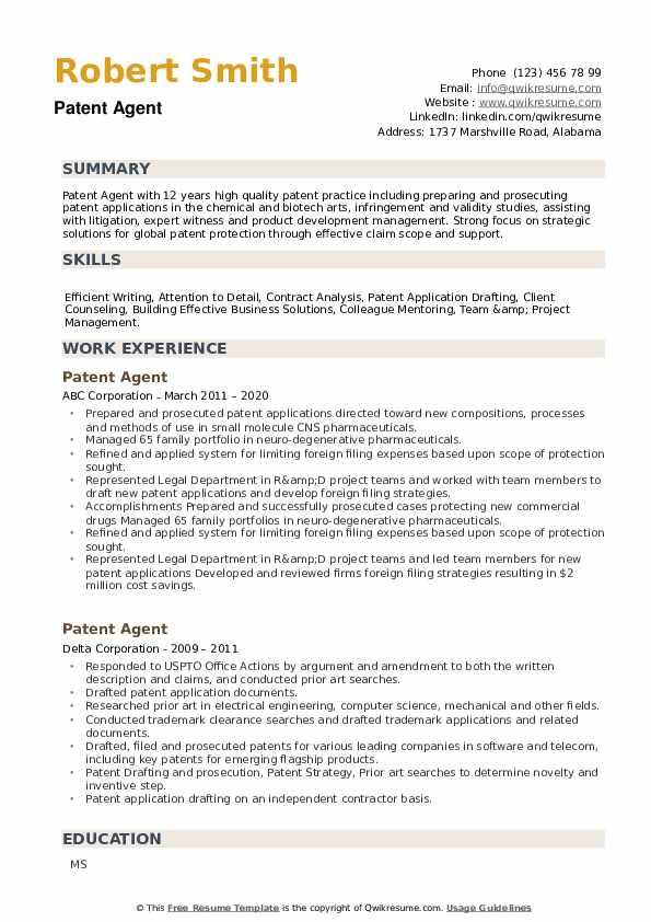 Patent Agent Resume example