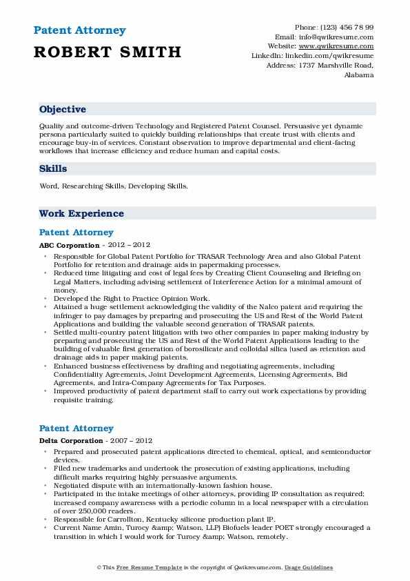 patent attorney resume samples  qwikresume