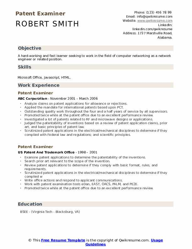 Patent Examiner Resume example