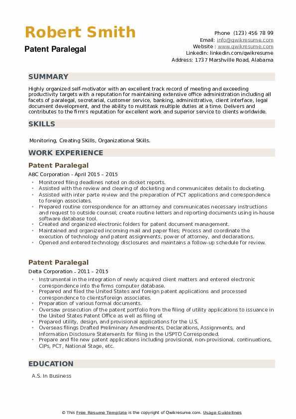 Patent Paralegal Resume example