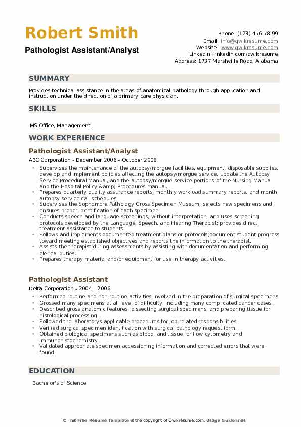 Pathologist Assistant Resume example