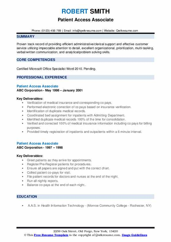Patient Access Associate Resume example