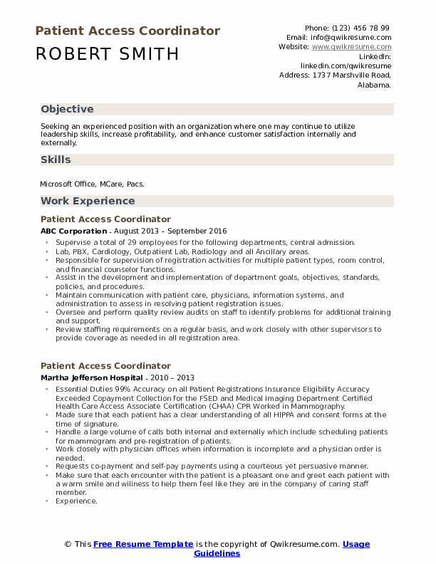 Patient Access Coordinator Resume Format