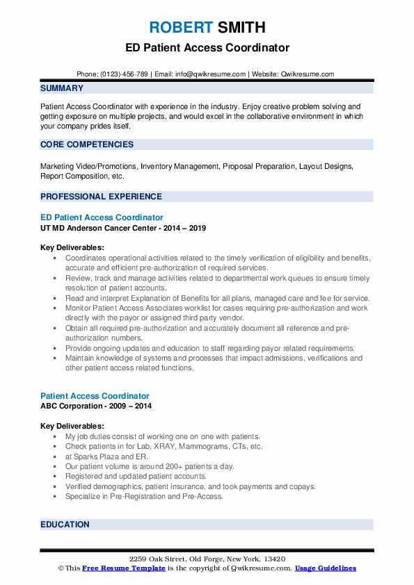 ED Patient Access Coordinator Resume Model