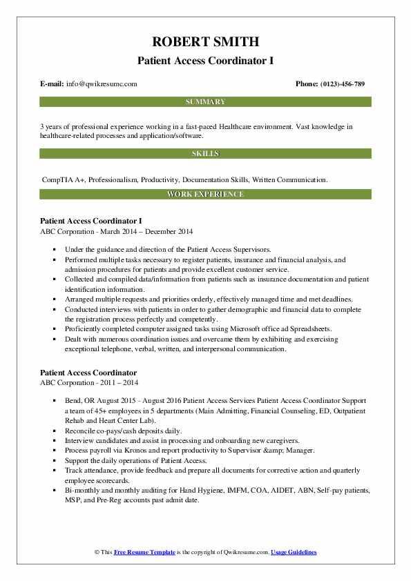 Patient Access Coordinator I Resume Format