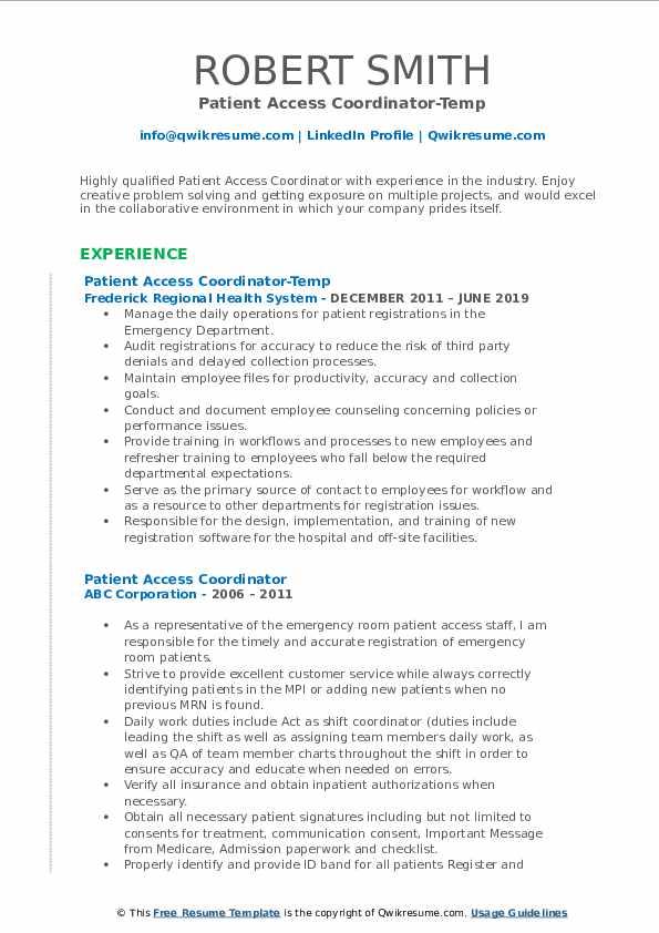 Patient Access Coordinator-Temp Resume Template