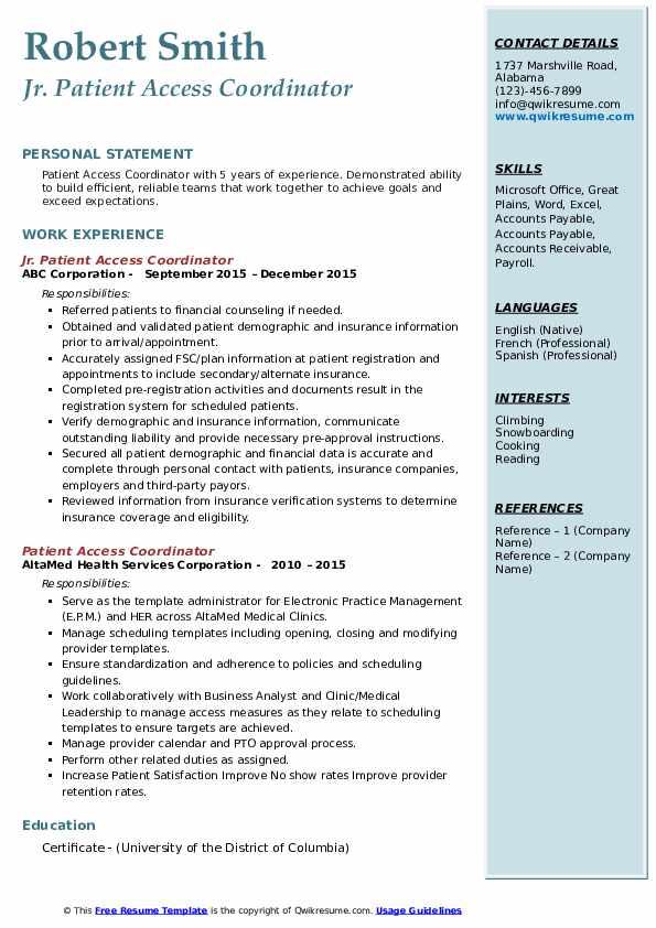 Jr. Patient Access Coordinator Resume Model