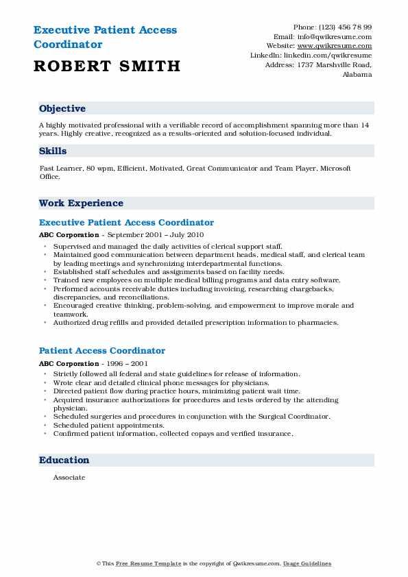 Executive Patient Access Coordinator Resume Template
