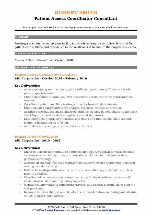 Patient Access Coordinator-Consultant Resume Sample