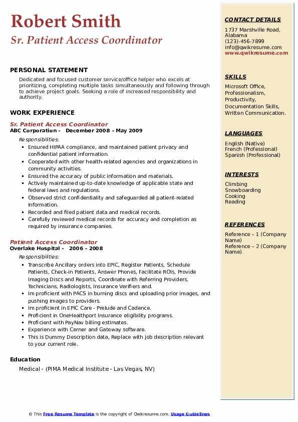 Sr. Patient Access Coordinator Resume Model