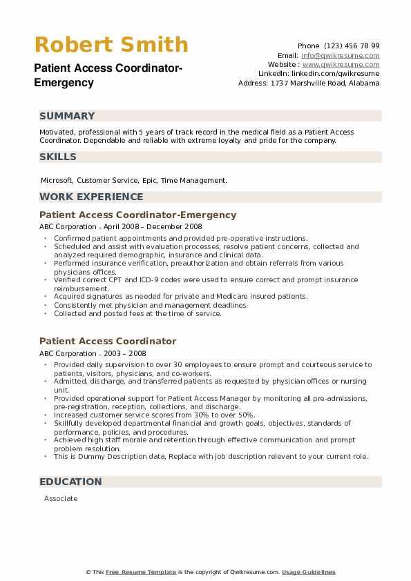Patient Access Coordinator-Emergency Resume Template