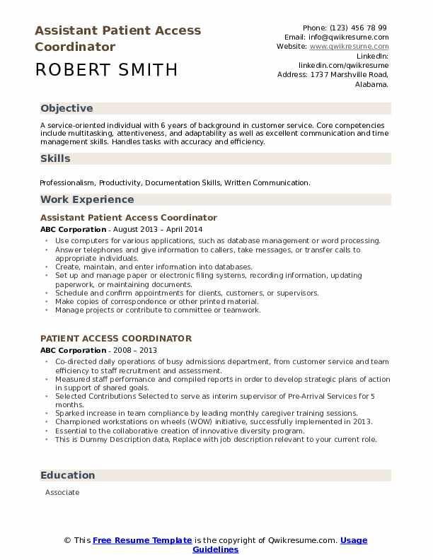 Assistant Patient Access Coordinator Resume Example