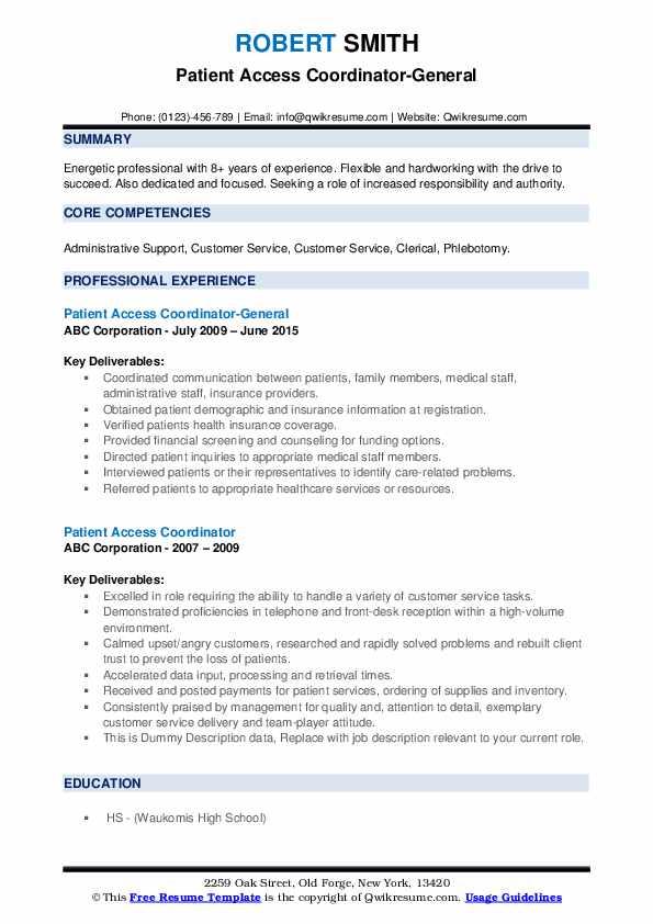 Patient Access Coordinator-General Resume Model