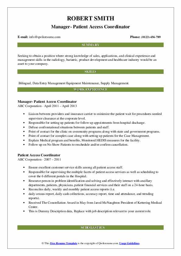 Manager- Patient Access Coordinator Resume Template