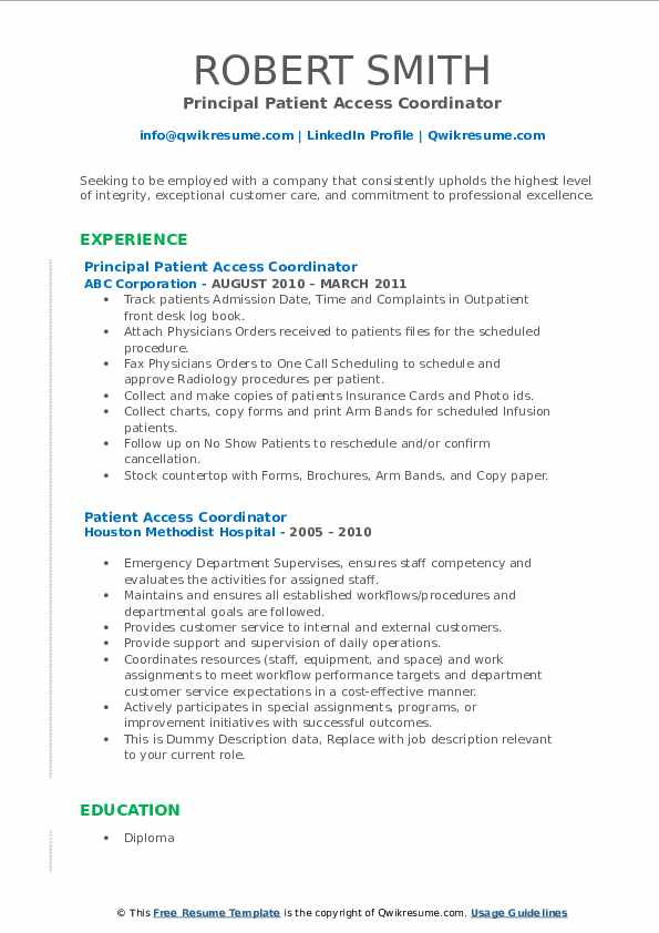 Principal Patient Access Coordinator Resume Model