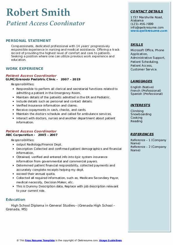 Patient Access Coordinator Resume example