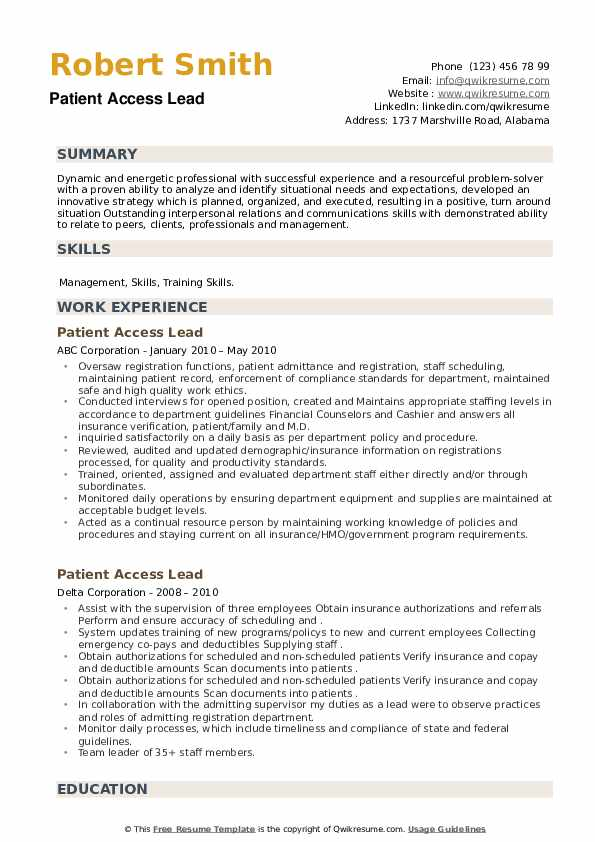 Patient Access Lead Resume example