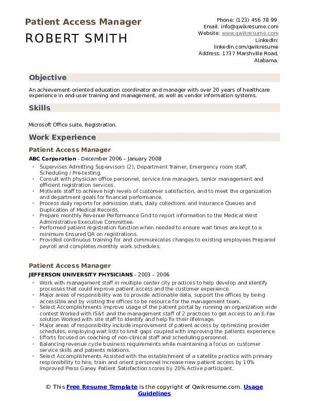Patient Access Manager Resume Example