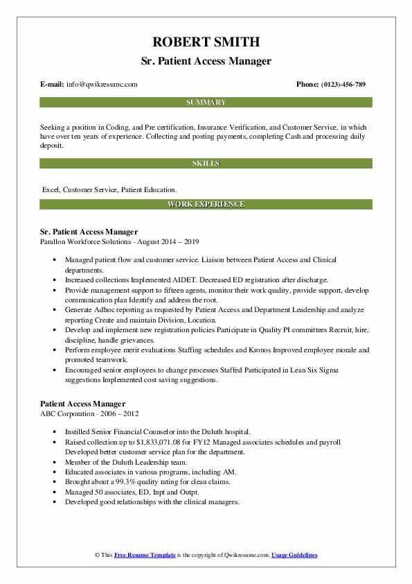 Sr. Patient Access Manager Resume Template