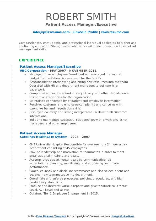 Patient Access Manager/Executive Resume Format