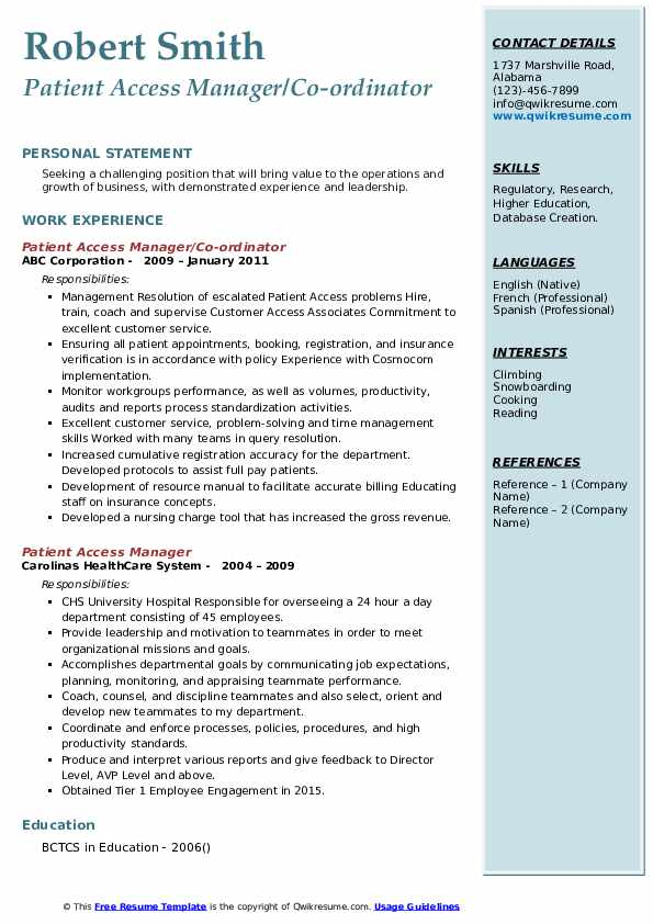 Patient Access Manager/Co-ordinator Resume Sample
