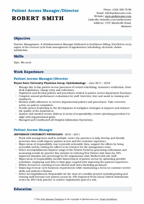 Patient Access Manager/Director Resume Example