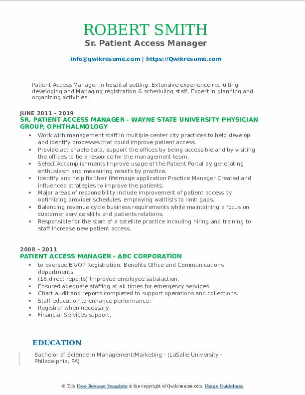 Sr. Patient Access Manager Resume Example