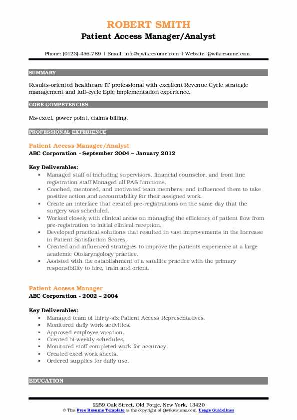 Patient Access Manager/Analyst Resume Format
